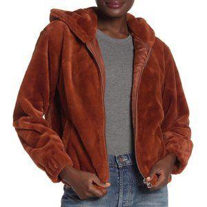CoffeeShop Rust Faux Fur Hooded Jacket